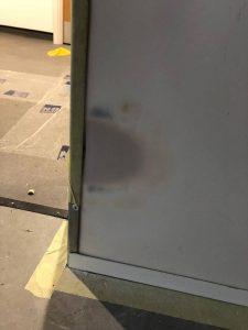 damage to lower level white cladding
