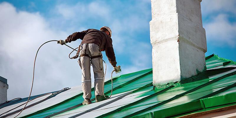 Man Spraying Green Roof