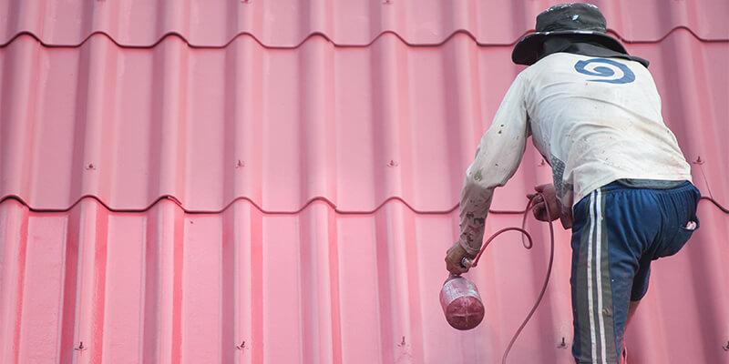 Man Spraying Pink Roof