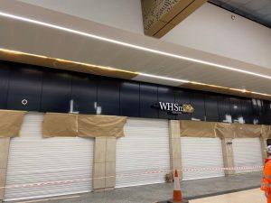 Panels sprayed blue and black