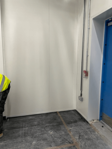 White panel walls in progress