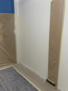 during white panel wall project